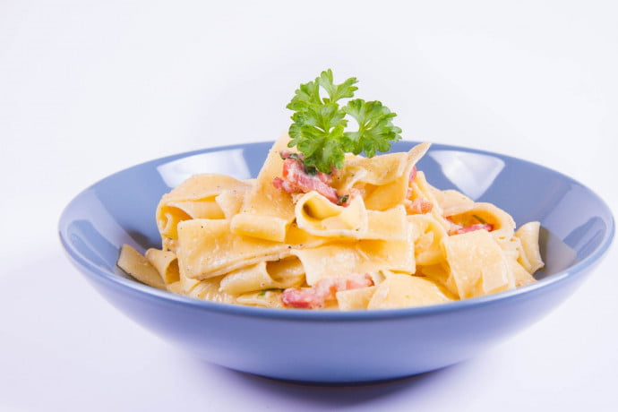 Pappardelle with Pork & Chestnuts on a plate