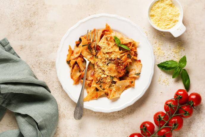 Maltagliati pasta with trapanese sauce