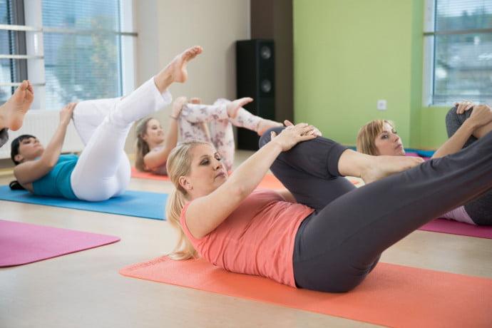 Morning Pilates class
